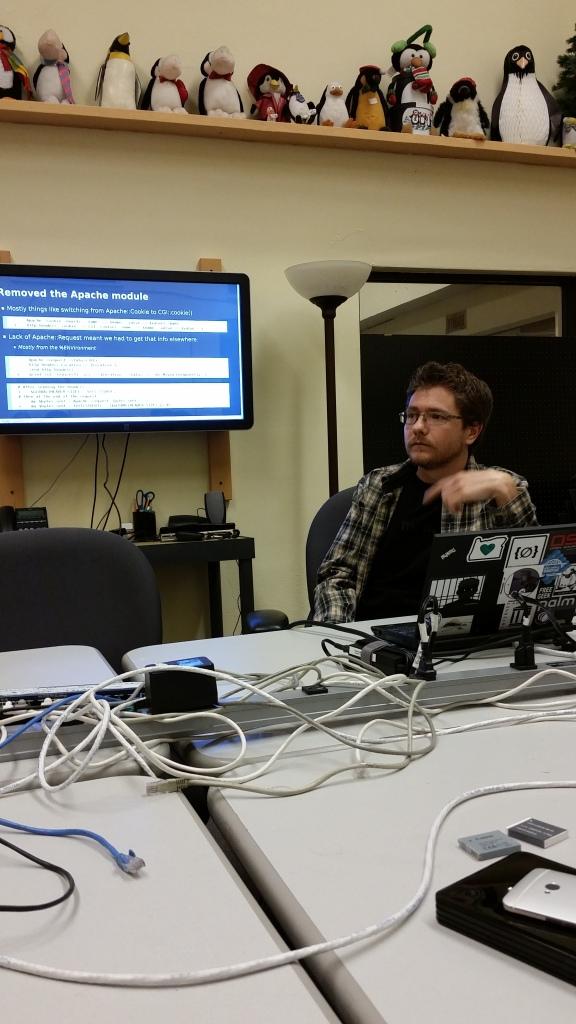 Andrew speaking at Perl Monger's